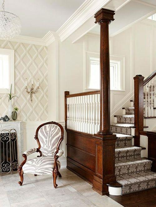 Treppenläufer und Teppiche für Holztreppen geometrisch linien lehnstuhl