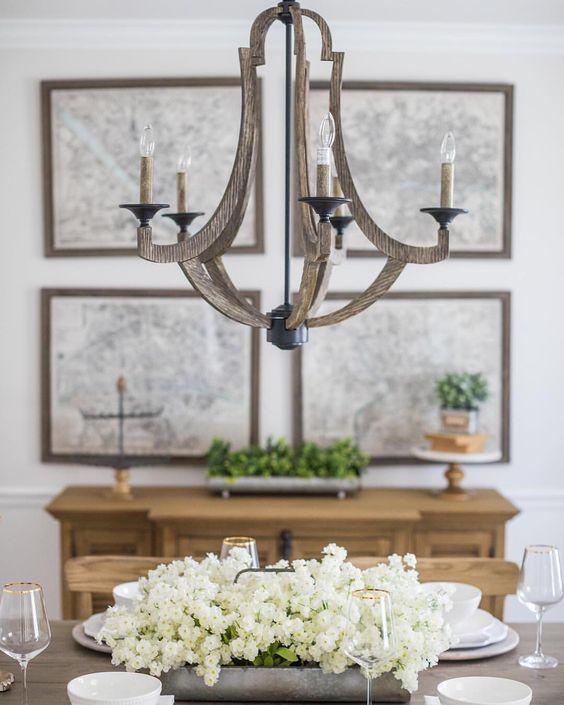 Marcoux chandelier. European Farmhouse Rustic Decorating Ideas.