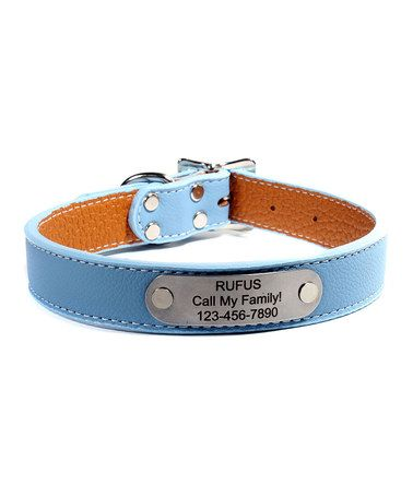 This Sky Blue Italian Leather Personalized Dog Collar is perfect!   More colors