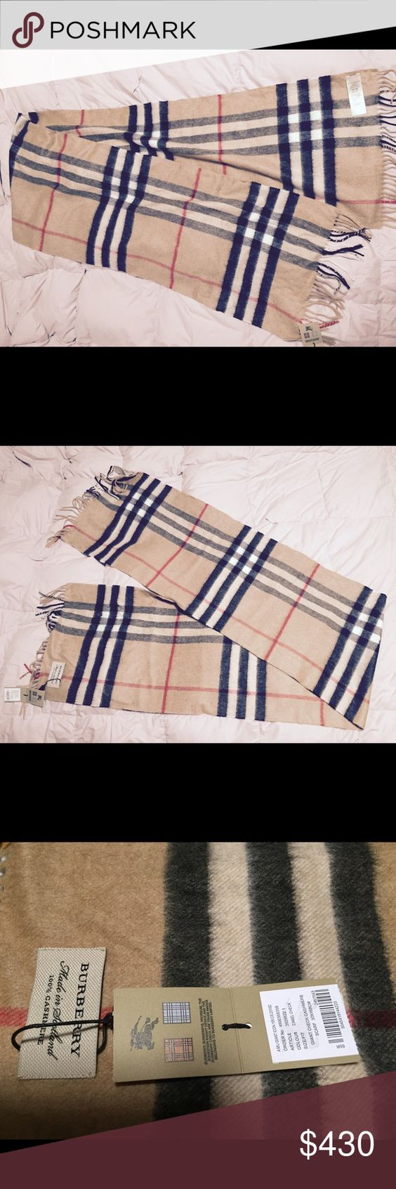 """Burberry Giant Icon Check Cashmere Scarf Brand New With Tag! Authentic Burberry Giant Icon Check Cashmere Scarf - Carmel Check 12""""W x 66""""L 🅿️🅿️available Burberry Accessories Scarves & Wraps"""