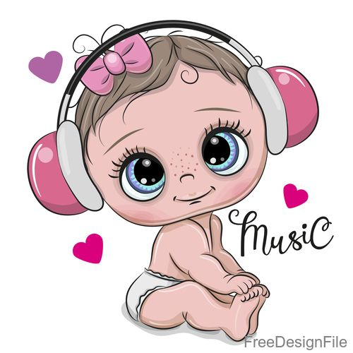 Download Cartoon Cute Baby With Music Vector In Eps Format Baby Cartoon Cute Music Vector Cartoon And More Resources At Freed Kartu Bayi Kartun Animasi Disney