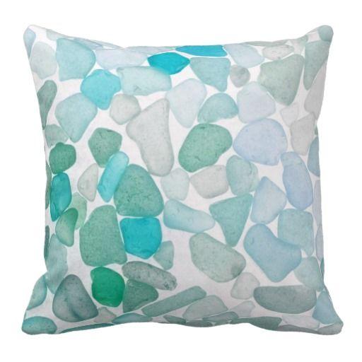 Beach Glass Pebbles Mixed Throw Pillows