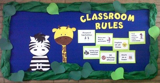 Classroom Zoo Ideas ~ Jungle themed classroom rules bulletin board