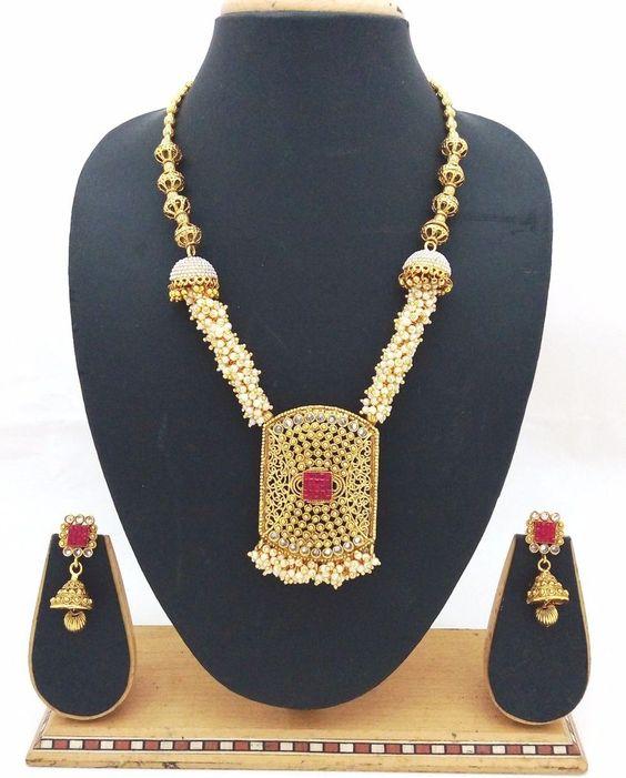 Latest Indian Bollywood Designer Kundan Pearl CZ Ruby Necklace Jhumka Earrings #ShouryaExports #EthnicandContemporary