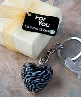 Murano Glass Collection heart design key chain favors - Detailed item view - www.weddingfavourswholesale.co.uk