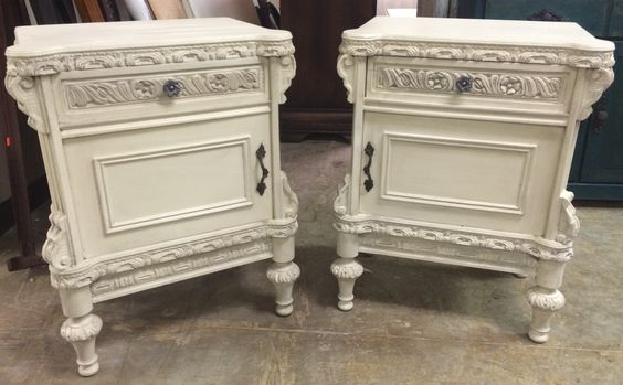 "Pairs of nightstands are hard for me to find so when we find pairs like these I get excited! These ones came all the way from France and are at least 75 years old. What do you think? The dimensions are 22"" L, 15"" W, 30"" H. SOLD!! for $325 https://www.pinterest.com/shabbychictexas/my-shabby-chic-nightstands/"