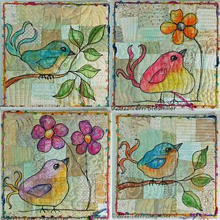 Bird Art Quilts.  Thread sketching over quilted improv pieced background, painted in with NeoColor II crayons: