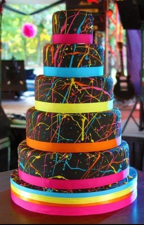 Splatter paint tiered black rainbow ribbon amazing beautiful birthday /party cake