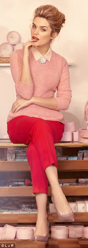Pink peplum sweater, £95 and snakeskin courts £175, reiss.com. Blouse, £19.99, hm.com. Brooch, £14.40, debenhams.com. Cropped trousers, £30, asos.com