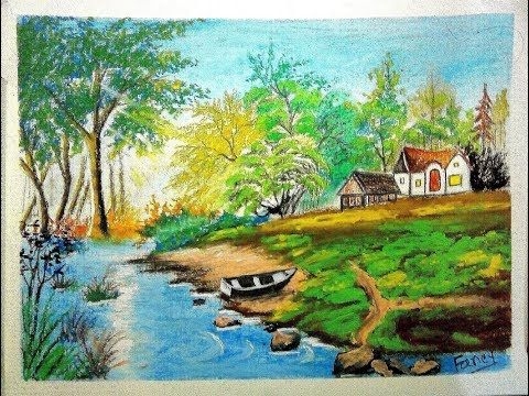 How To Draw Landscape Scenery Of Beautiful Nature Step By Step Youtube Landscape Scenery Scenery Paintings Easy Landscape Paintings