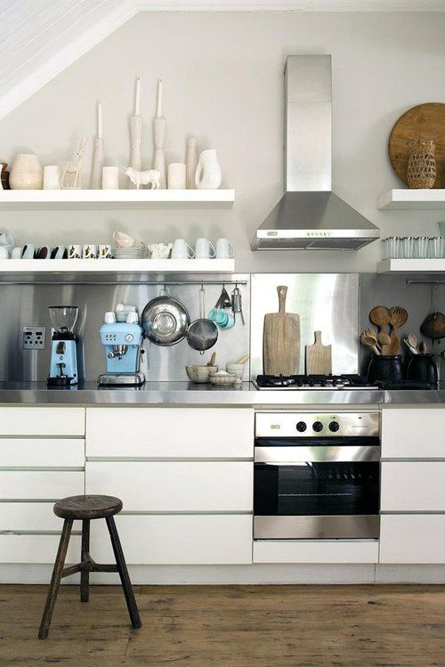 love the stainless steel 'splashback' add wooden worktop and shelves