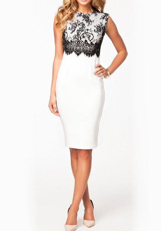 White Plain Lace Round Neck Sleeveless Dress - Midi Dresses - Dresses
