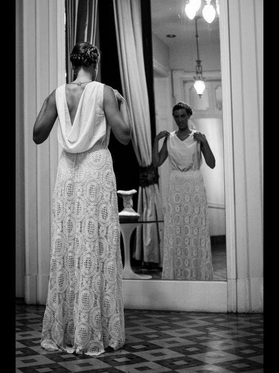 Wedding Dress - Pollera de guipiure manteca + remera de seda natural