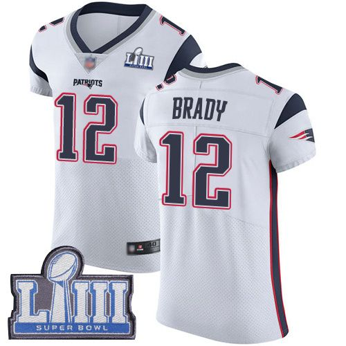 Football Men White Tom Brady Patriots #12 Road Jersey: Super Bowl ...