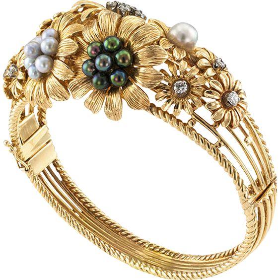 Multi Colored Cultured Pearl & Diamond Estate Flower Bangle