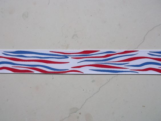 Patriotic Red & blue zebra stripes on white 7/8 by IsamayDesigns, via Etsy.