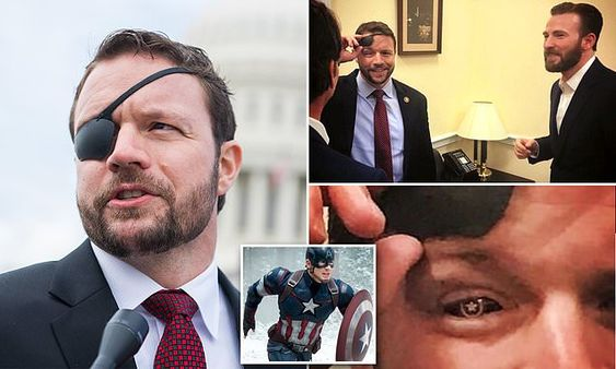 Dan Crenshaw and his Captain America lens, which he showed to Chris Evans