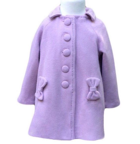 Toddler girl's retro style coat and hat in soft washed lavender ...