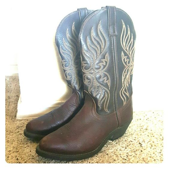 Western Cowboy boots ONLY WORN ONCE size 7M boots. Super comfy, already oiled and ready to break in! Beautiful dark chocolate color, real leather. Bought from D&B for $104 including tax. Will be oiled and cleaned again before sending so they will be in LIKE NEW condition! Laredo  Shoes