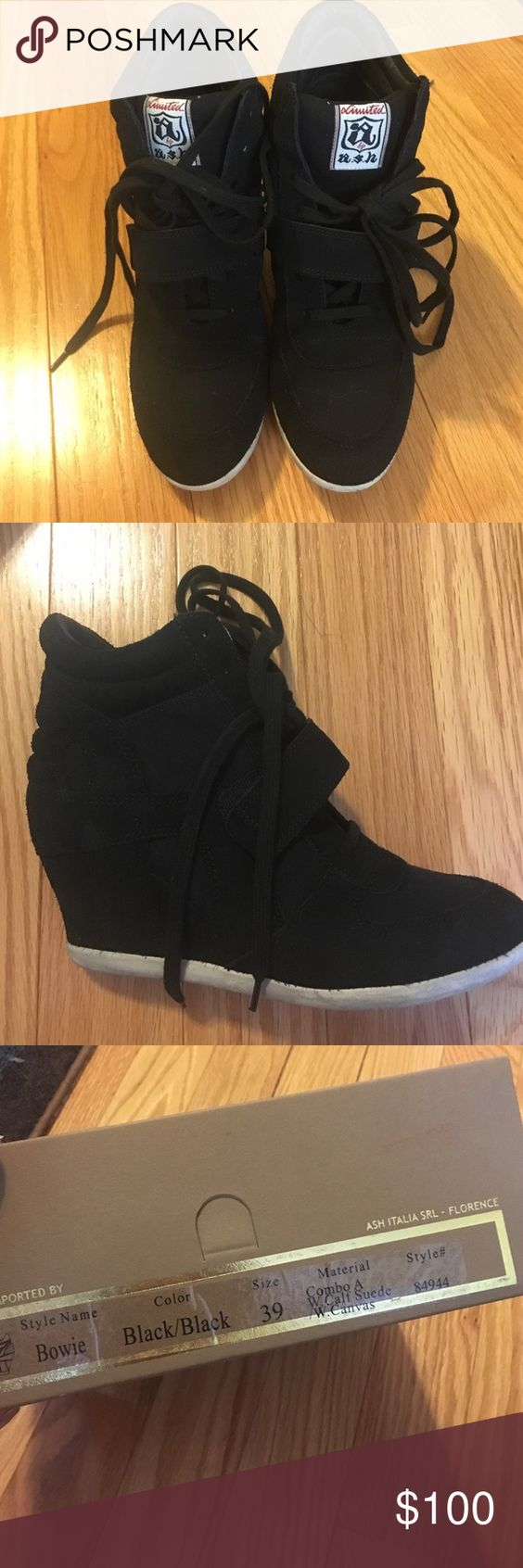 ASH bowie black suede wedge sneakers almost brand new condition. Ash Shoes Sneakers