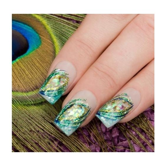 i like this looking for something to go with my peacock costume Pretty Peacock Nails | LoveToKnow found on Polyvore