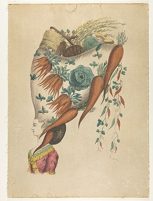 Fantastic hairdress with fruit and vegetable motif for 18th century french cuisine