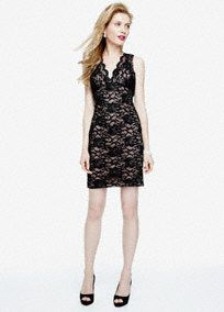 Sultry and exquisite, this beautiful stretch lace dress is ultra-flattering!  Sleeveless bodice features eye-catching scalloped neckline detail.  Open back creates a stunning focal point.  All over stretch lace fabric is stylish and comfortable.  Fully lined. Back zip. Imported polyester. Hand wash cold.