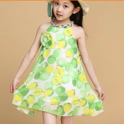 Green and Yellow Fruit Print Baby Girl Dress. amazing summer dress ...