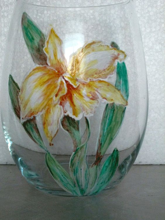 Yellow Orchid Wine Tumbler by cassidy808 on Etsy, $15.00