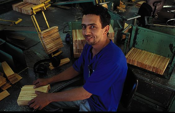 Faber-Castell employee with slats- the beginning of all pencils.
