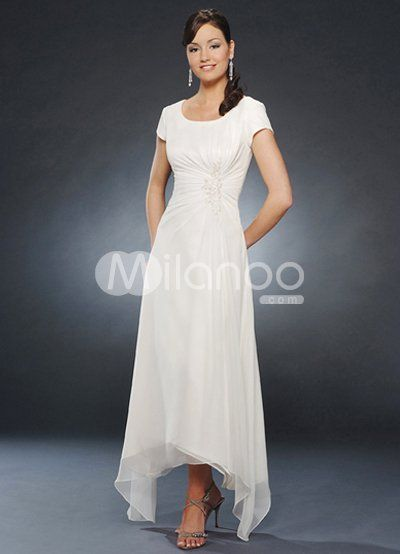 Beautiful White Short Sleeve Pleated Chiffon Mother of the Bride ...