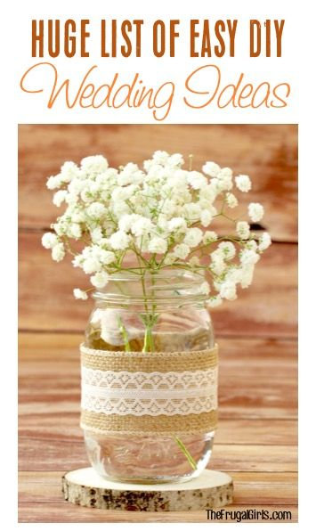 Budget Wedding Ideas and HUGE List of DIY Wedding Tips to make your special day the most memorable ever!   TheFrugalGirls.com