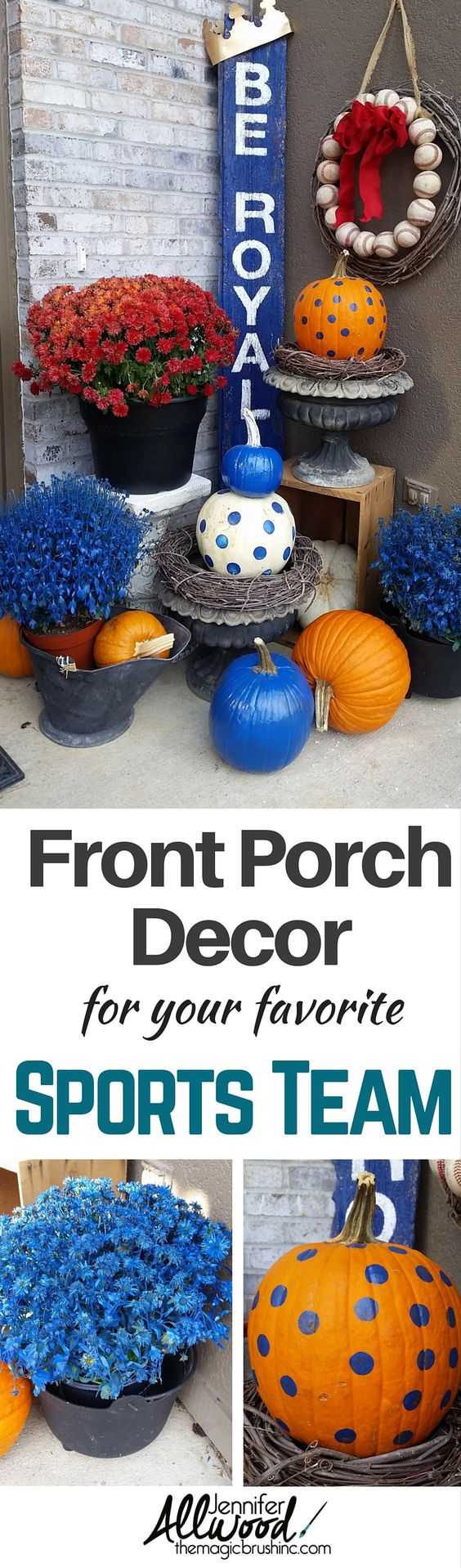Go Royals! I'm supporting the Kansas City Royals in the World Series! Here's how to show off your SUPER FAN status with front porch decor supporting your favorite sports team. Jennifer uses painted pumpkins, stenciled barnwood and spray pained mums. theMagicBrushinc.com