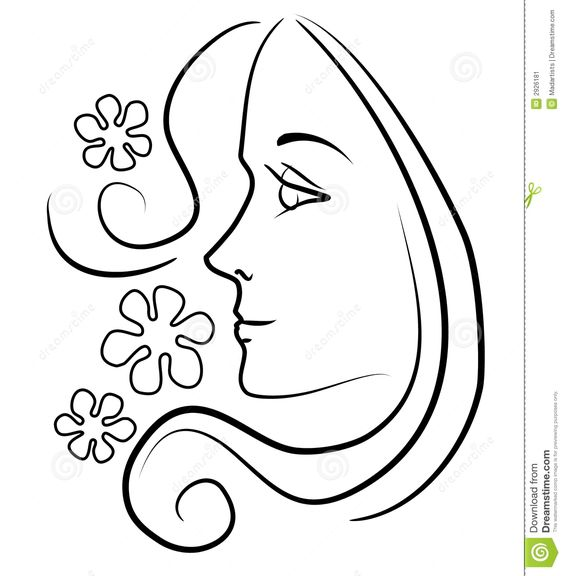 Line Drawing Face Woman : Clip art of a girl face outline illustration