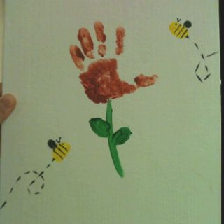 Mothers day projects I just made with my toddler class. Handprint flowers, fingerprint bees