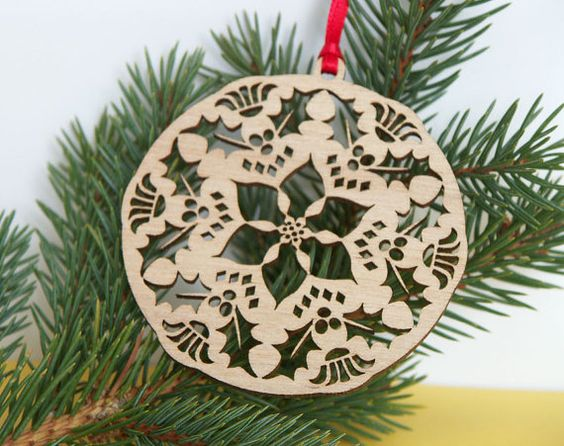 Poinsettia wooden ornament Holiday decoration by CardNotions, $525
