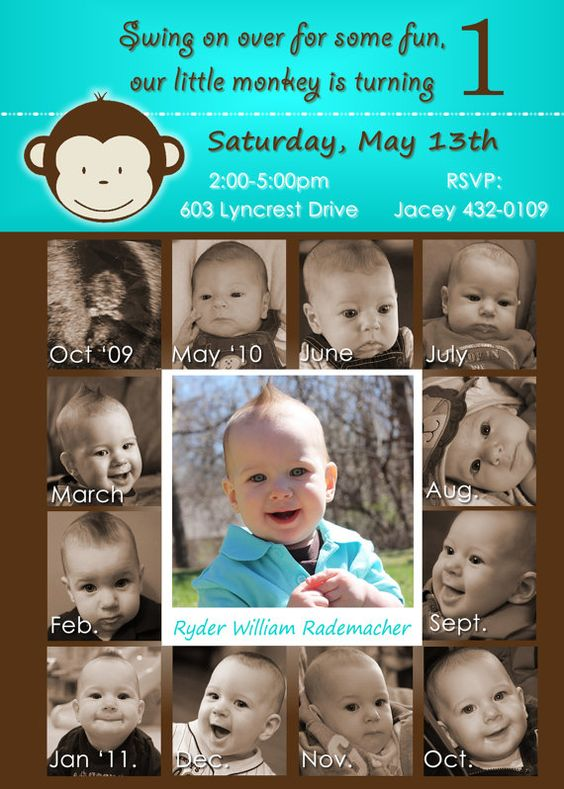 Mod Monkey 1st Birthday Boy 12 month photo invite card
