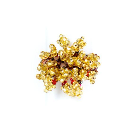 Explosiv guldröd #ring, knuten av ziljoner pärlor - Masomenos. 90:- plus frakt.