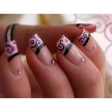 Pink French manicure with some details