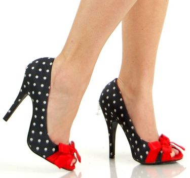 Подробные сведения о Retro Black Polka Dot Red Bow High Heel Shoes ...