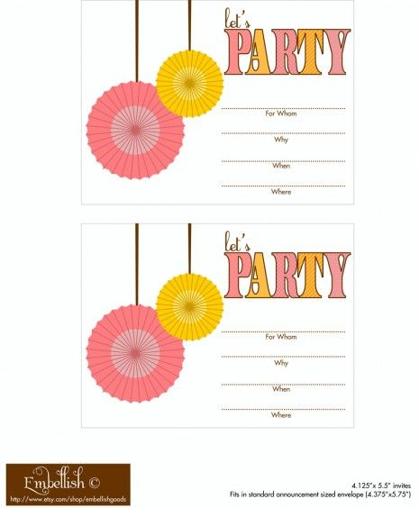 """Invites, party circles, tented cards, party labels, """"let's party"""" banner, and a """"party this way"""" sign"""
