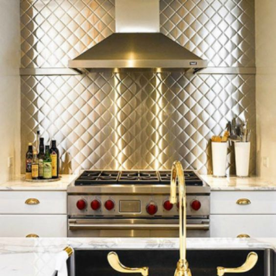 Countertops and backsplashes    stamped stainless steel backsplash ...