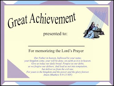 Lords Prayer Certificate for memorizing the bible verse - awesome - school certificates pdf