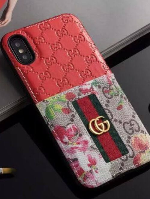 Gucci Iphone Case Red 11 Pro Xs Max Xr 8 Plus Leather Card 10013