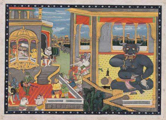 Indian & Islamic Paintings. The Giant Kumbhakarna is awakened – A Leaf from the Ramayana