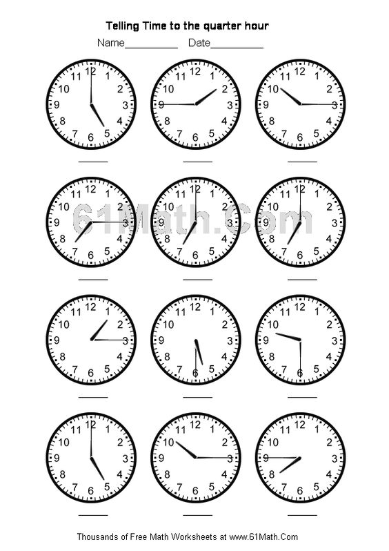 telling time worksheets telling time to the quarter hour create your own math worksheets. Black Bedroom Furniture Sets. Home Design Ideas