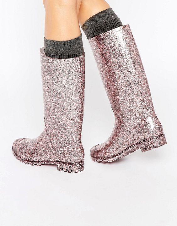 Image 1 ofASOS GROOVY Glitter Wellies