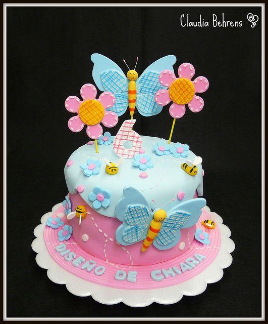 Torta flores y mariposa tortas ni as pinterest - Bizcochos cumpleanos infantiles ...