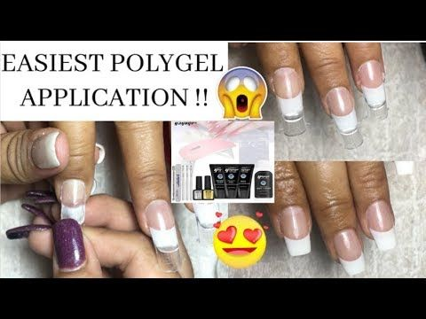 Dual Forms Over Tips With Polygel Easiest Polygel French Mani Yayoge Youtube In 2020 Acrylic Nails At Home Simple Nail Designs Glue On Nails