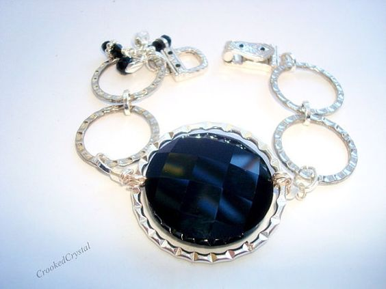 Bracelet  Silver Circle Links  Jet Black Faceted by CrookedCrystal, $23.99